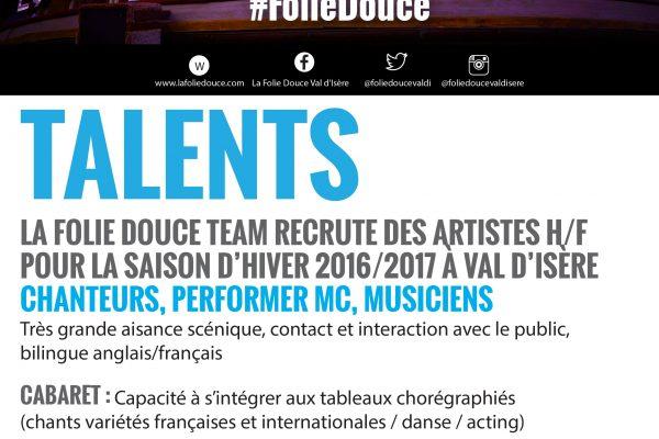 La Folie Douce Val d'Isère recrute !